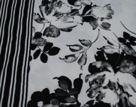 Tessuto Stampa Bianco Nera Fiori